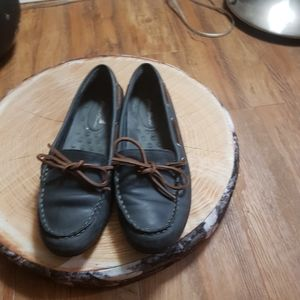 Eddie Bauer Water Resistant Leather Boat Shoes